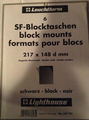 Lighthouse Black Stamp Mounts Mount Blocks 148 mm 217 X 148d mm Full Pack 6