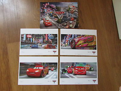 "Disney Store ""cars 2"" Set Of 4 Lithographs Prints ""brand New"""