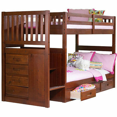 NE Kids - Merlot Mission Staircase Twin/Twin Bunk Bed - 2814T