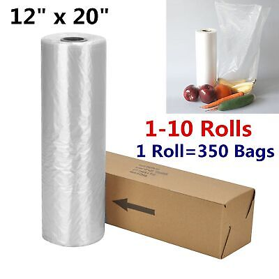 "12"" x 20"" Plastic Produce On Roll Clear 350/Bag Grocery Kitchen Food Fruit Veges"