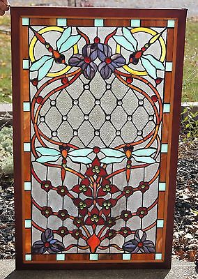 Tiffany Style Stained glass window panel Dragonfly, 34 by 21