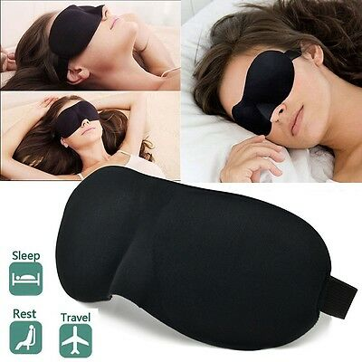 Soft Black 3D Eye Sleep Mask Aid Shade Cover Blindfold For Rest Travel