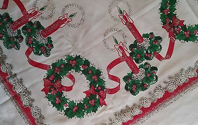 "Vintage Christmas Square White Tablecloth CANDLES & WREATHS Gold 50"" x47½"""