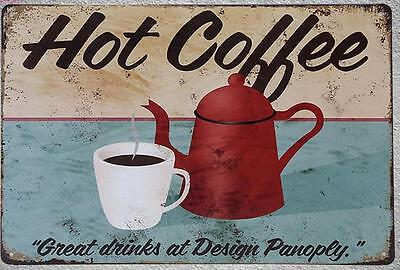Targa Hot coffee stampa metallo vintage retrò pub bar poster arredo
