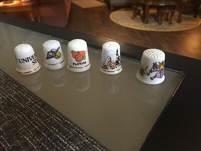 5 Florida Collector Thimbles, Kennedy Space, Universal Studio, Epcot, Oranges