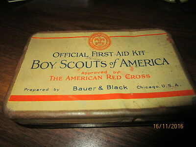 Vintage Early Bauer & Black  Boy Scout First Aid Kit And Contents In Pouch