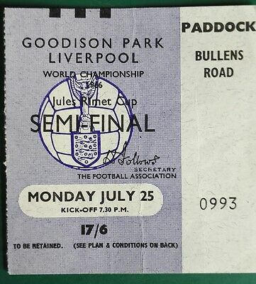 1966 WORLD CUP MATCH TICKET  USSR vs. WEST GERMANY. SEMI @ GOODISON PARK (0993)