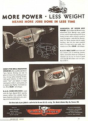 1935 Black and Decker automotive product drills print Ad Page 8x11