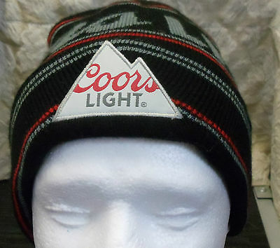 Coors Light Beer Stocking Hat Beanie Cap Black Red Gray Logo Molson Coors CA