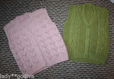 Bundle of Two Gorgeous Vintage Hand Knitted Waistcoats Cardigans - 3 4 5 Years