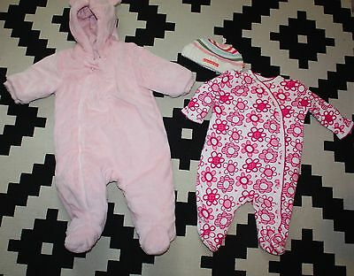 Baby Girls Pink NEXT Snowsuit 3 - 6 Months with Sleepsuit & Hat
