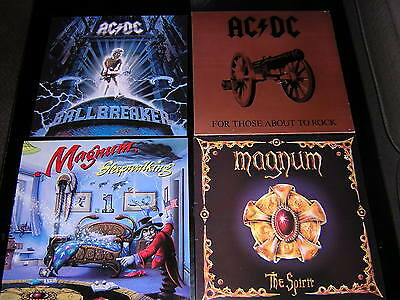 "3 Magnum - Ac/dc Album Sleeves + 1 Promotional 12""x12"" Card"