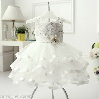Nelly Ivory Flower Baby Girl Formal Dress Christening Wedding Gown Birthday Gift