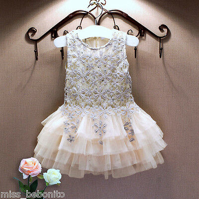 Sunny Flower Girl Lace Formal Dress Princess Gown Party Birthday Gift Bridesmaid