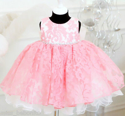 Lucy Pink Princess Baby Girl Dress Flower Wedding Birthday Gift Bridesmaid Party