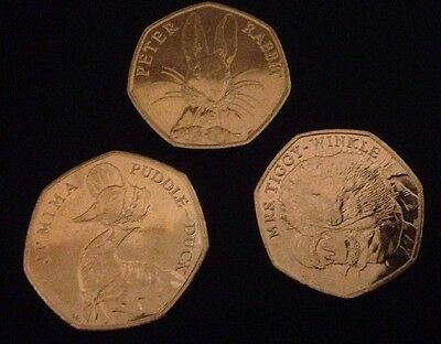 Set Of 3 Beatrix Potter 50P Jemima Puddleduck Mrs Tiggywinkle & Peter Rabbit