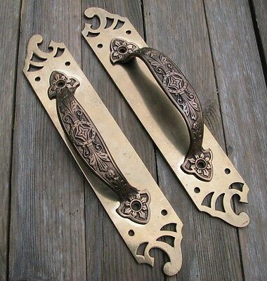 Antique Pair of Large Art Nouveau Brass / Copper Door Pull Handles / Shop