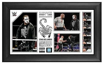 "WWE 2016 Hall Of Famer Sting Signed Plaque ""Sting Has Landed"" With Ring Canvas"