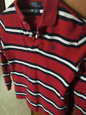Boys Red And Blue Striped Long Sleeve Polo. Size  7