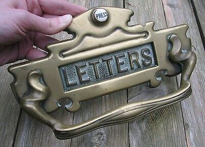 Antique Rare Brass letter box plate with pull handle and door bell / mail slot
