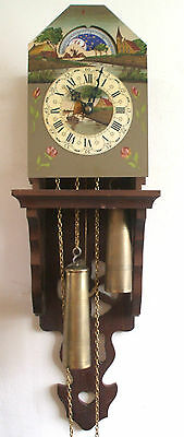 "Painted Metal Face 2 Weights Driven Movement Dutch Wall Cookoo Clock 25""L"