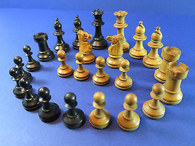 Antique Wooden German Chess Pieces ~ Glass Eye Knights ~ Part Chess Set