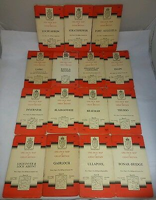 Collection of 15 Ordnance Survey Maps - National Grid, 1950-1960's ( A10) USED
