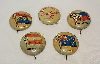 Vintage Sheffield Sealect A Dairy Pins Country Flags Advertising Giveaway Promo