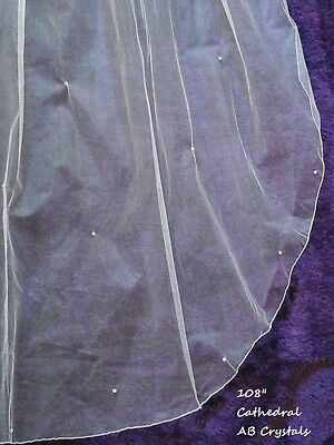 """Brides Ivory 30"""" / 108"""" 2T cathedral length wedding veil scattered AB crystals"""