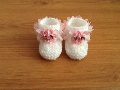 Baby Girls Hand Knitted Booties Newborn White / Pink Lace & Flower