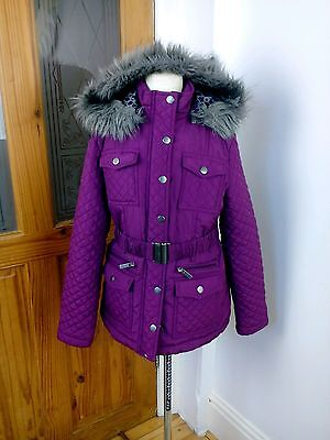 Girls size  9 years Kylie Minogue  purple very stylish padded winter coat.