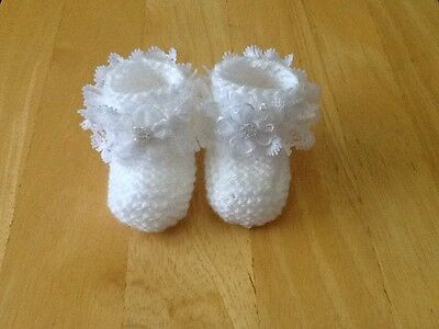 Baby Girls Hand Knitted Booties Newborn White / White Lace & Flower