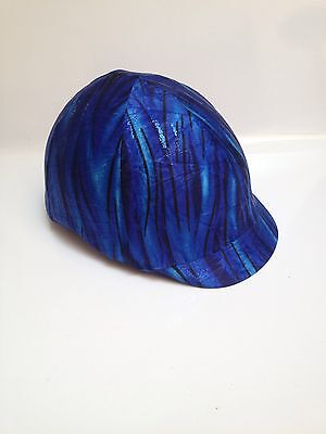 Horse Helmet Cover Blue Holographic Tiger Print Lycra AUSTRALIAN  MADE