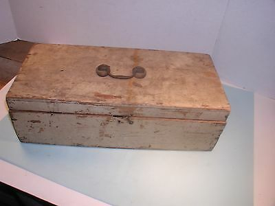 1800's Painted Pine Box with Brass Handle.