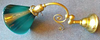 Victorian Articulating Brass Wall Sconce With Emeralite Case Glass Shade