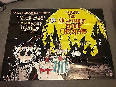 The Nightmare Before Christmas Original UK Quad Poster Tim Burton Collectible
