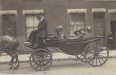 English Real Photo. Horse and Carriage. Period costumes, hats. c 1910