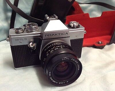 PRAKTICA MTL3 CAMERA WITH CARL ZEISS JENA P 1:2.8 f=29mm MC LENS and case