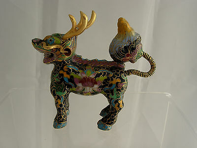 Vintage Cloisonne enamel Qilin Kylin figure mythical properity serenity