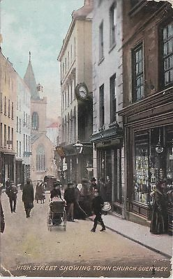 English Postcard. Guernsey. High Street showing Town Church. Mailed 1908