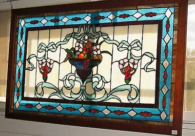 Tiffany Stained glass window panel beveled glass , 34 by 21