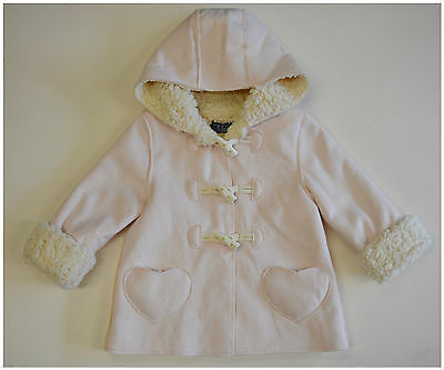 Girls Pink Faux Sheepskin Style Toggle Jacket Coat With Hood 3-4 Years