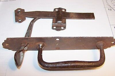 "Thumb Latch + Handle 8 1/2""H set drop attic door old vintage cast iron Great Con"