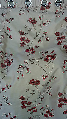 1 pair of lined interlined curtains eyelet embroidered faux silk red cream
