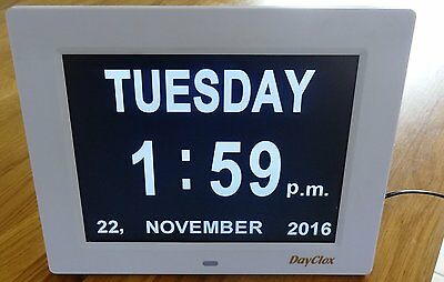 Digital Calendar Day Clock made by DayClox. Ideal for elderly. 8 languages