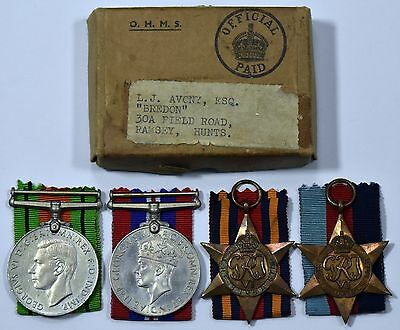 WW2 Group of 4 1939-45 Star, Burma Star, War Medal and Defence Medal With Box