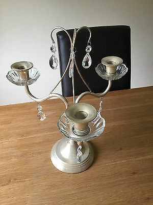 Laura Ashley Gold Candleabra Candle Holder Glass Droplets Fab