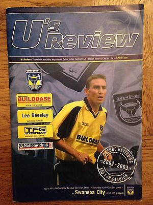 Football Programme: Oxford United v Swansea City - League 3 - Played 12/10/2002