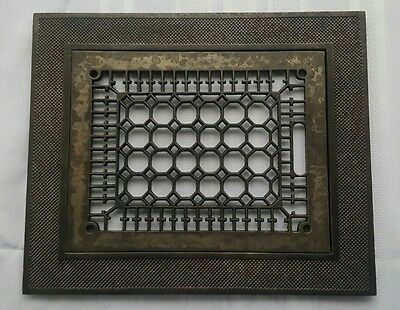 "Antique 1890's Victorian Heating Register Refurbished Grate 9"" X 12"" with Frame"