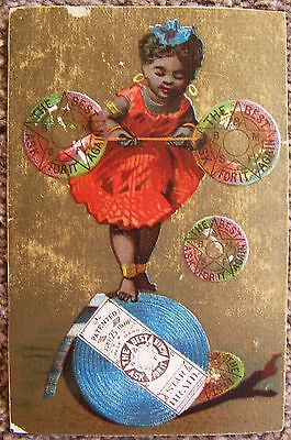 TRADE CARD 19th Century Sewing Victorian Star Braid Black Girl